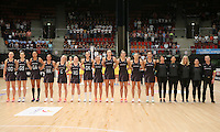 28.01.2017 The Silver Ferns line up for the anthems during the Silver Ferns v Australian Diamonds netball test match played at the International Convention Centre studium in Durban, South Africa.<br />  Mandatory Photo Credit ©Reg Caldecott/Michael Bradley Photography.
