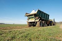 Spreading Sulphur on to Winter Wheat<br /> &copy;Tim Scrivener Photographer 07850 303986<br />      ....Covering Agriculture In The UK....