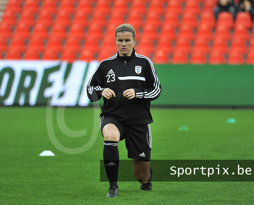 20131009 - LIEGE , BELGIUM : Glasgow Julie Nelson  pictured during the female soccer match between STANDARD Femina de Liege and  GLASGOW City LFC , in the 1/16 final ( round of 32 ) first leg in the UEFA Women's Champions League 2013 in stade maurice dufrasne - Sclessin in Liege. Wednesday 9 October 2013. PHOTO DAVID CATRY