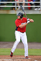 Potomac Nationals first baseman Shawn Pleffner (17) during a game against the Lynchburg Hillcats on April 26, 2014 at Pfitzner Stadium in Woodbridge, Virginia.  Potomac defeated Lynchburg 6-2.  (Mike Janes/Four Seam Images)