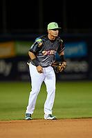 Daytona Tortugas shortstop Luis Gonzalez (7) during a game against the Jupiter Hammerheads on April 13, 2018 at Jackie Robinson Ballpark in Daytona Beach, Florida.  Daytona defeated Jupiter 9-3.  (Mike Janes/Four Seam Images)