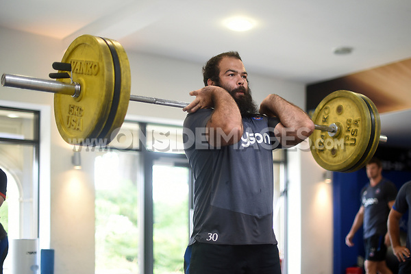 Kane Palma-Newport of Bath Rugby in the gym. Bath Rugby pre-season training on June 22, 2017 at Farleigh House in Bath, England. Photo by: Patrick Khachfe / Onside Images