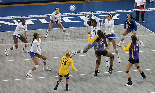 The UK vs. LSU women's volleyball game at Memorial Coliseum in Lexington, Ky., on Sunday, November 10, 2013. UK won the set 3-2. Photo by Tessa Lighty | Staff