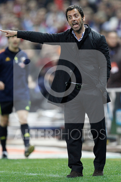 Atletico de Madrid's coach Quique Sanchez Flores  during la Liga match on 19 march 2011...Photo: Cebolla Cid-Fuentes / ALFAQUI