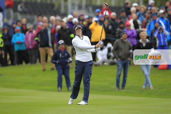 Brittany Altomare of Team USA on the 1st fairway during Day 2 Fourball at the Solheim Cup 2019, Gleneagles Golf CLub, Auchterarder, Perthshire, Scotland. 14/09/2019.<br /> Picture Thos Caffrey / Golffile.ie<br /> <br /> All photo usage must carry mandatory copyright credit (© Golffile | Thos Caffrey)