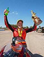 Sep 23, 2018; Madison, IL, USA; NHRA pro stock motorcycle rider Matt Smith celebrates after winning the Midwest Nationals at Gateway Motorsports Park. Mandatory Credit: Mark J. Rebilas-USA TODAY Sports