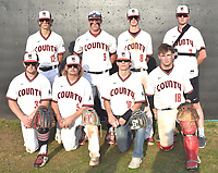 RICK PECK/SPECIAL TO MCDONALD COUNTY PRESS The McDonald County High School baseball team honored its eight seniors on May 6 following the Mustangs' 9-0 loss to Logan-Rogersville at MCHS. Seniors shown (front, left) are Oakley Roessler, Izak Johnson, Jordan Platter and Joe Brown; (back row) Boston Dowd, Micah Burkholder, Blaine Lemm and Charlie Moore.