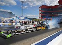 Jun 18, 2016; Bristol, TN, USA; NHRA top fuel driver Clay Millican during qualifying for the Thunder Valley Nationals at Bristol Dragway. Mandatory Credit: Mark J. Rebilas-USA TODAY Sports