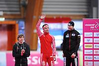 SCHAATSEN: ERFURT: Gunda Niemann-Stirnemann Halle, 02-03-2013, Essent ISU World Cup, Season 2012-2013, podium 1000m Men A, Brian Hansen (USA), Dmitry Lobkov (RUS), Nico Ihle (GER), ©foto Martin de Jong