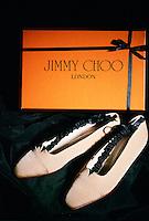 Pair of Jimmy Choo shoes and box, London, United Kingdom