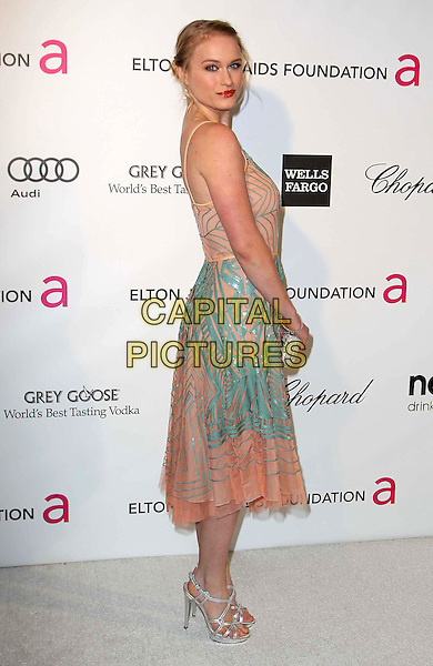 Leven Rambin.21st Annual Elton John Academy Awards Viewing Party held at West Hollywood Park, West Hollywood, California, USA..February 24th, 2013.oscars full length blue pink dress pattern side .CAP/ADM/KB.©Kevan Brooks/AdMedia/Capital Pictures.