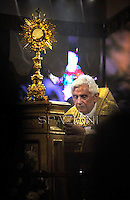 Pope Benedict XVI during a Corpus Domini procession between the basilicas San Giovanni in Laterano and Santa Maria Maggiore on  in Rome.June 7, 2012