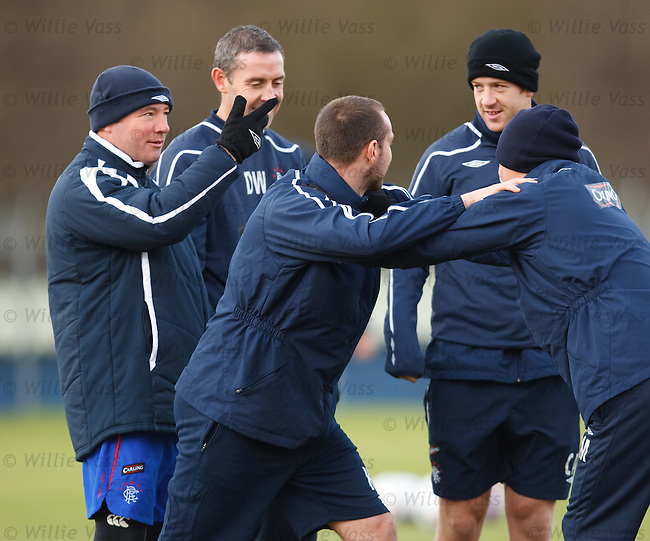 Ally McCoist gives a pep talk to his players