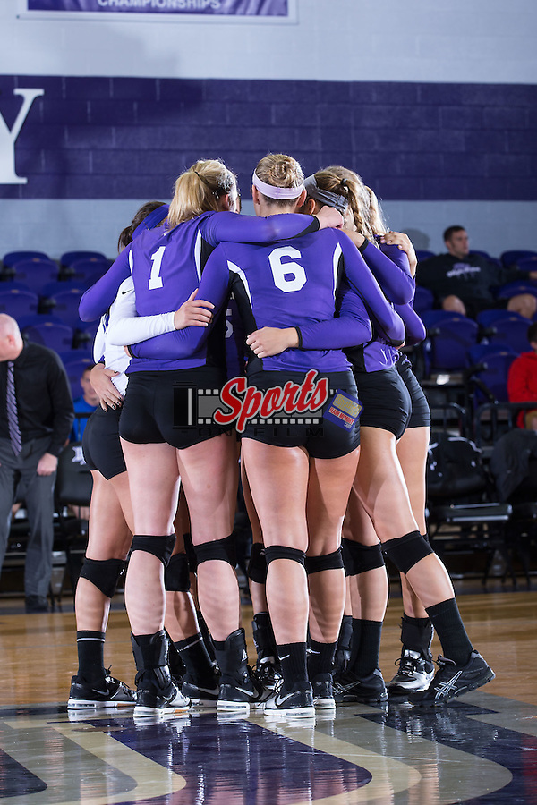 The High Point Panthers huddle up during their match against the UNC Greensboro Spartans at Millis Athletic Center on September 16, 2014 in High Point, North Carolina.  The Panthers defeated the Spartans 3-0.   (Brian Westerholt/Sports On Film)