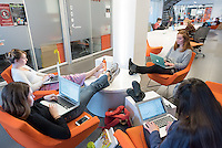 Occidental College students study for finals in the Rose Hills Student Activity Center in the Johnson Student Center, Dec. 13 , 2016. From left: Sandy Pattison '19, Claire Weider '19, Tessa Sternberg '19 and Zoe Alles '19.<br /> (Photo by Marc Campos, Occidental College Photographer)