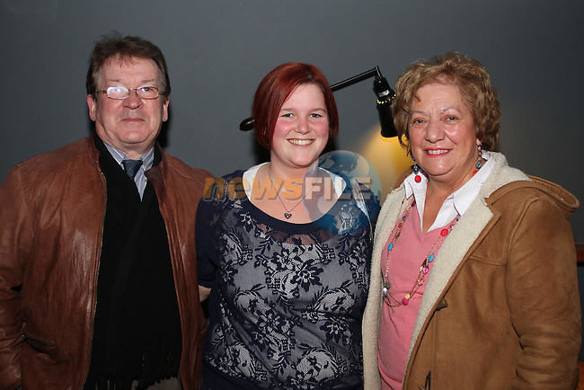 "Tony Barrett, Ruth McHale and Alice Barrett at the Lourdes Brass Band and St.Brigids Drama Group Performance of ""A Christmas Carol"" in The Droichead Arts Centre...(Photo credit should read Jenny Matthews www.newsfile.ie)....This Picture has been sent you under the conditions enclosed by:.Newsfile Ltd..The Studio,.Millmount Abbey,.Drogheda,.Co Meath..Ireland..Tel: +353(0)41-9871240.Fax: +353(0)41-9871260.GSM: +353(0)86-2500958.email: pictures@newsfile.ie.www.newsfile.ie."