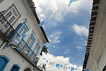 Paraty, Espirito Santo, Brazil: Nicely decorated historic centre of Party during the Nossa Senhora do Rosario and Sao Benedito Festival in November. --- Info: The beautiful colonial town of Paraty has been a UNESCO World Heritage Site since 1958. --- No signed releases available.