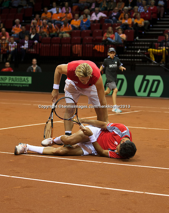 14-sept.-2013,Netherlands, Groningen,  Martini Plaza, Tennis, DavisCup Netherlands-Austria, Doubles,  Oliver Marach and Julian Knowle <br /> Photo: Henk Koster