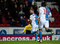 Blackburn Rovers' Bradley Dack celebrates scoring his side's first goal as team mate Danny Graham (right) looks on<br /> <br /> Photographer Andrew Kearns/CameraSport<br /> <br /> The EFL Sky Bet Championship - Blackburn Rovers v Nottingham Forest - Tuesday 1st October 2019  - Ewood Park - Blackburn<br /> <br /> World Copyright © 2019 CameraSport. All rights reserved. 43 Linden Ave. Countesthorpe. Leicester. England. LE8 5PG - Tel: +44 (0) 116 277 4147 - admin@camerasport.com - www.camerasport.com