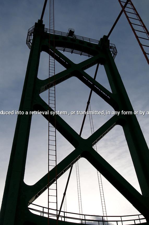Tower detail from suspension bridge Halifax Nova Scotia Canada North America