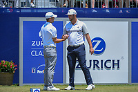 Jon Rahm (ESP) shakes hands with his playing partner Wesley Bryan (USA) before Round 2 of the Zurich Classic of New Orl, TPC Louisiana, Avondale, Louisiana, USA. 4/27/2018.<br /> Picture: Golffile | Ken Murray<br /> <br /> <br /> All photo usage must carry mandatory copyright credit (&copy; Golffile | Ken Murray)