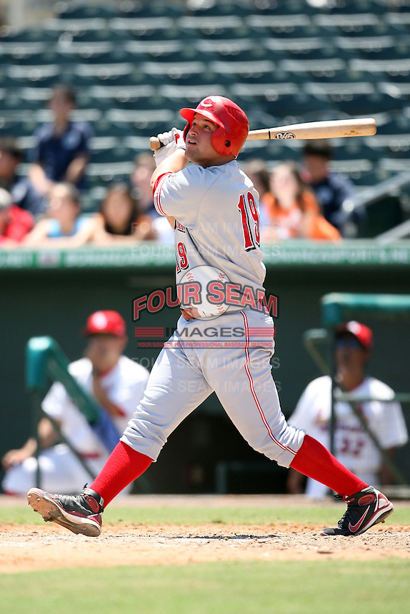April 16, 2009:  First Baseman Yonder Alonso (19) of the Sarasota Reds, Florida State League Class-A affiliate of the Cincinnati Reds, during a game at Roger Dean Stadium in Jupiter, FL.  Photo by:  Mike Janes/Four Seam Images