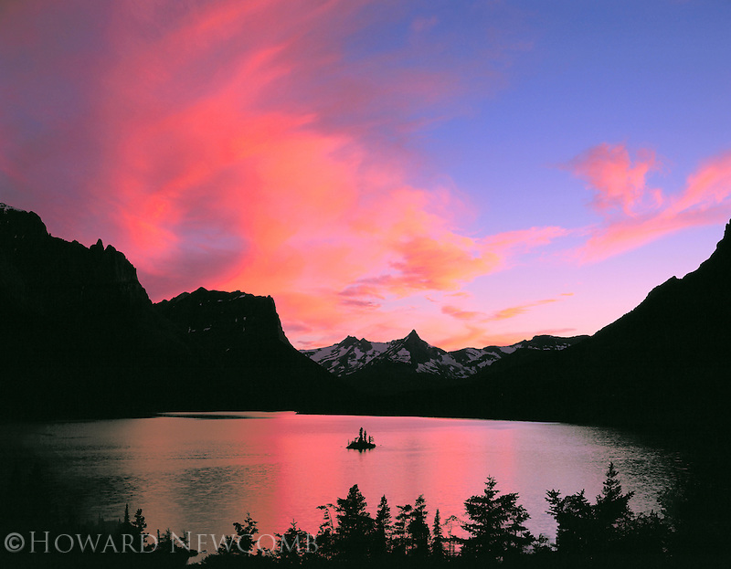 Sunset sky over St. Mary Lake in Glacier National Park