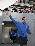 U.S.'s Clint Dempsey slaps hands with fans while taking the field on Tuesday, April 11th, 2006 at SAS Stadium in Cary, North Carolina. The United States Men's National Team tied Jamaica 1-1 in a men's international friendly.