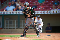 Dayton Dragons catcher Jose Duarte (18) during a game against the Cedar Rapids Kernels on July 24, 2016 at Perfect Game Field in Cedar Rapids, Iowa.  Cedar Rapids defeated Dayton 10-6.  (Mike Janes/Four Seam Images)