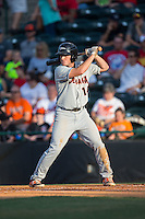 Austin Anderson (14) of the Delmarva Shorebirds at bat against the Hickory Crawdads at L.P. Frans Stadium on June 18, 2016 in Hickory, North Carolina.  The Shorebirds defeated the Crawdads 4-2 in game two of a double-header.  (Brian Westerholt/Four Seam Images)