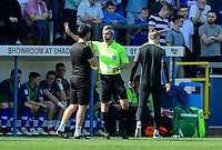 Lincoln City manager Danny Cowley speaks to Fourth official Seb Stockbridge<br /> <br /> Photographer Chris Vaughan/CameraSport<br /> <br /> The EFL Sky Bet League Two - Carlisle United v Lincoln City - Friday 19th April 2019 - Brunton Park - Carlisle<br /> <br /> World Copyright © 2019 CameraSport. All rights reserved. 43 Linden Ave. Countesthorpe. Leicester. England. LE8 5PG - Tel: +44 (0) 116 277 4147 - admin@camerasport.com - www.camerasport.com
