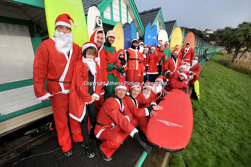 The Santa Surf Off 2017, in Langland Bay near Swansea, Wales, UK, was organised to raise funds for Surfers Against Sewage. Around 20 surfers took part and 50 onlookers were there to cheer them on, with the aim of performing radical manoeuvres with Christmas spirit and compete with plenty of laughter.