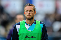Swansea take on Liverpool at The Liberty Stadium on October 1, 2016 in Swansea, Wales. Pictured is warming up before kick off is Gylfi Sigurdsson