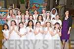 Pupils from 2nd class presentation primary school Tralee who made their first holy communion on Saturday in St John's Parish church with their teacher Ms Claire Cronin.   Copyright Kerry's Eye 2008