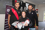 Secondary School Girls  Most Improved Player Nikita Simpson from Alfriston College with Steelers Jimmy Tupou and Jordan Taufua. Counties Manukau Rugby Unions Junior Prize giving held at ECOLight stadium on Thursday October 22nd 2015. Photo by Richard Spranger
