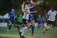 Seattle, WA - April 15th, 2017: Erica Skroski, Beverly Yanez during a regular season National Women's Soccer League (NWSL) match between the Seattle Reign FC and Sky Blue FC at Memorial Stadium.
