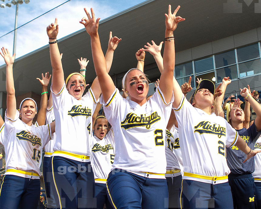 The University of Michigan women's softball team advances to the WCWS after beating Louisiana Lafayette, 2-1, in game three of the NCAA Super Regional at the Wilpon Complex in Ann Arbor Mich., on May 25, 2013.
