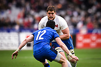 9th February 20020, Stade de France, Paris, France; 6-Nations international mens rugby union, France versus Italy;  Paul Willemse (France ) runs into contact with Carlo Canna ( Italy )