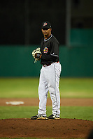 Batavia Muckdogs relief pitcher Luis Mojica (30) gets ready to deliver a pitch during a game against the West Virginia Black Bears on June 18, 2018 at Dwyer Stadium in Batavia, New York.  Batavia defeated West Virginia 9-6.  (Mike Janes/Four Seam Images)