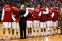 January 9, 2014: Nebraska Cornhuskers arm in arm during the National anthem before the game against the Michigan Wolverines at the Pinnacle Bank Arena, Lincoln, NE. Michigan defeated Nebraska 71 to 70.