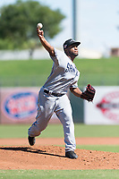 Peoria Javelinas starting pitcher Miguel Diaz (36), of the San Diego Padres organization, delivers a pitch during an Arizona Fall League game against the Surprise Saguaros at Surprise Stadium on October 17, 2018 in Surprise, Arizona. (Zachary Lucy/Four Seam Images)