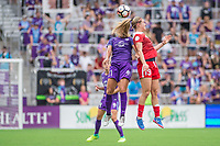 Orlando, FL - Saturday April 22, 2017: Monica Hickmann Alves, Kristie Mewis during a regular season National Women's Soccer League (NWSL) match between the Orlando Pride and the Washington Spirit at Orlando City Stadium.