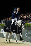 Daniel Deusser of Germany riding Cornet D'Amour celebrates winning the Hong Kong Jockey Club Trophy during the Longines Masters of Hong Kong at AsiaWorld-Expo on 09 February 2018, in Hong Kong, Hong Kong. Photo by Ian Walton / Power Sport Images