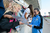 Bridgeview, IL - Sunday June 25, 2017: Fans, Vanessa DiBernardo during a regular season National Women's Soccer League (NWSL) match between the Chicago Red Stars and Sky Blue FC at Toyota Park. The Red Stars won 2-1.