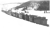 Five engines pushing RGS rotary #2 between Trout Lake and Lizard Head.<br /> RGS  Lizard Head area ?, CO  ca 1911