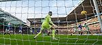 29.12.2019 Celtic v Rangers: Nikola Katic scores the second goal past Fraser Forster