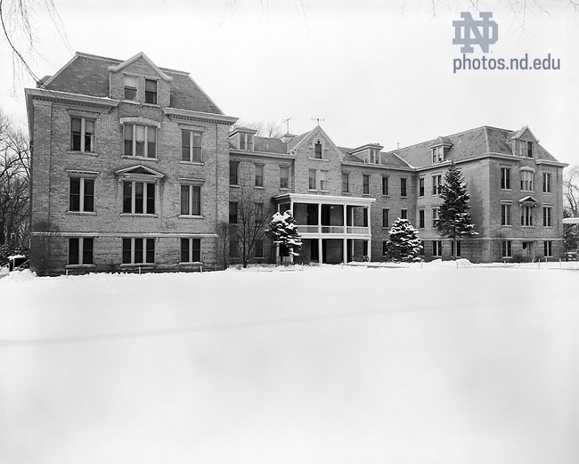 GPHR 45/0004:  Badin Hall exterior in winter with snow, c1950s..Image from the University of Notre Dame Archives.