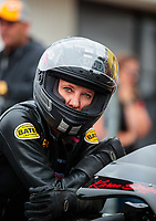 Mar 16, 2019; Gainesville, FL, USA; NHRA pro stock motorcycle rider Karen Stoffer during the Gatornationals at Gainesville Raceway. Mandatory Credit: Mark J. Rebilas-USA TODAY Sports
