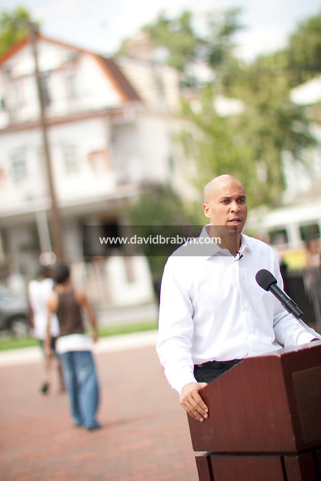 Newark mayor Cory Booker speaks at the opening of a new park in Newark, NJ, USA, 25 August 2009.