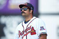 Danville Braves pitching coach Kanekoa Texeira (50) prior to the game against the Bristol Pirates at American Legion Post 325 Field on July 1, 2018 in Danville, Virginia. The Braves defeated the Pirates 3-2 in 10 innings. (Brian Westerholt/Four Seam Images)